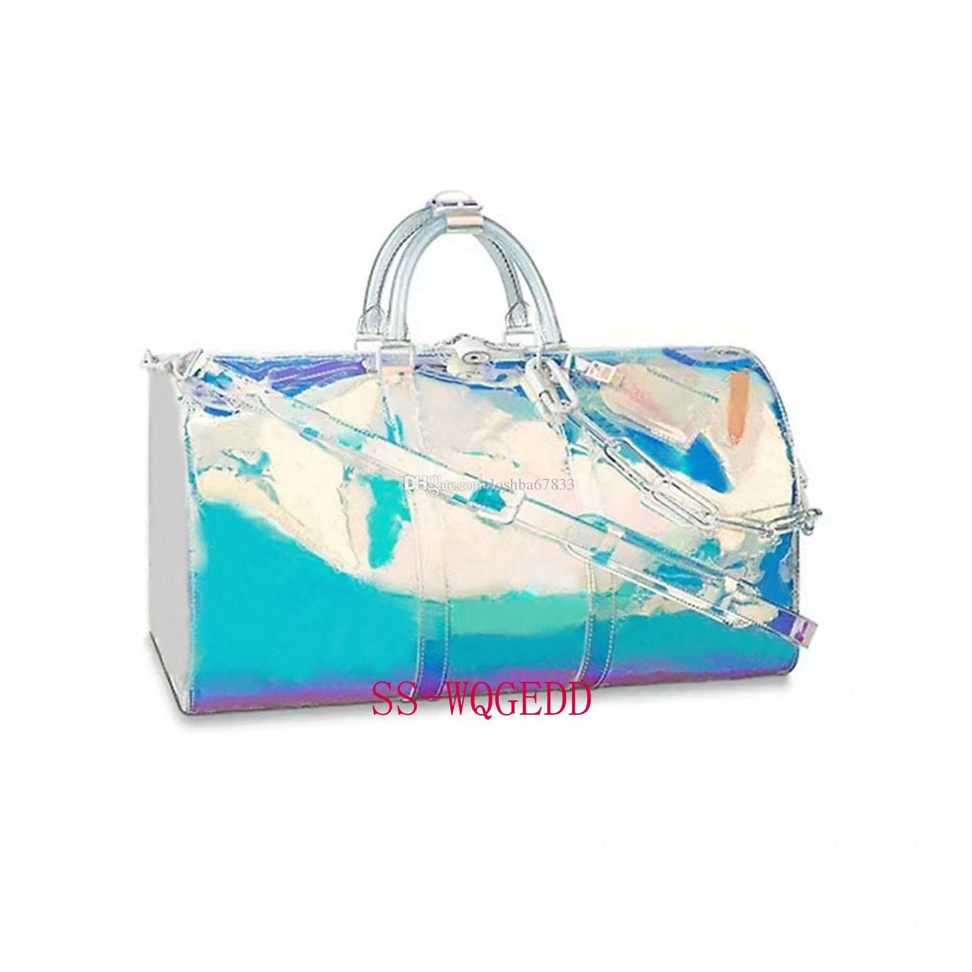 New High Quality Luxury Designer's Travel Bag Transparent Red and Blue PVC Large Capacity Handbags Outdoor Fashion Chain Luggage Bag50x29x23