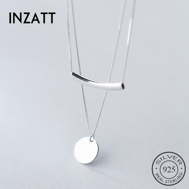 INZATT Real 925 Sterling Silver Layer Chain Geometric Round Disc Bent Pipe Choker Pendant Necklace For Women Party Jewelry T200113