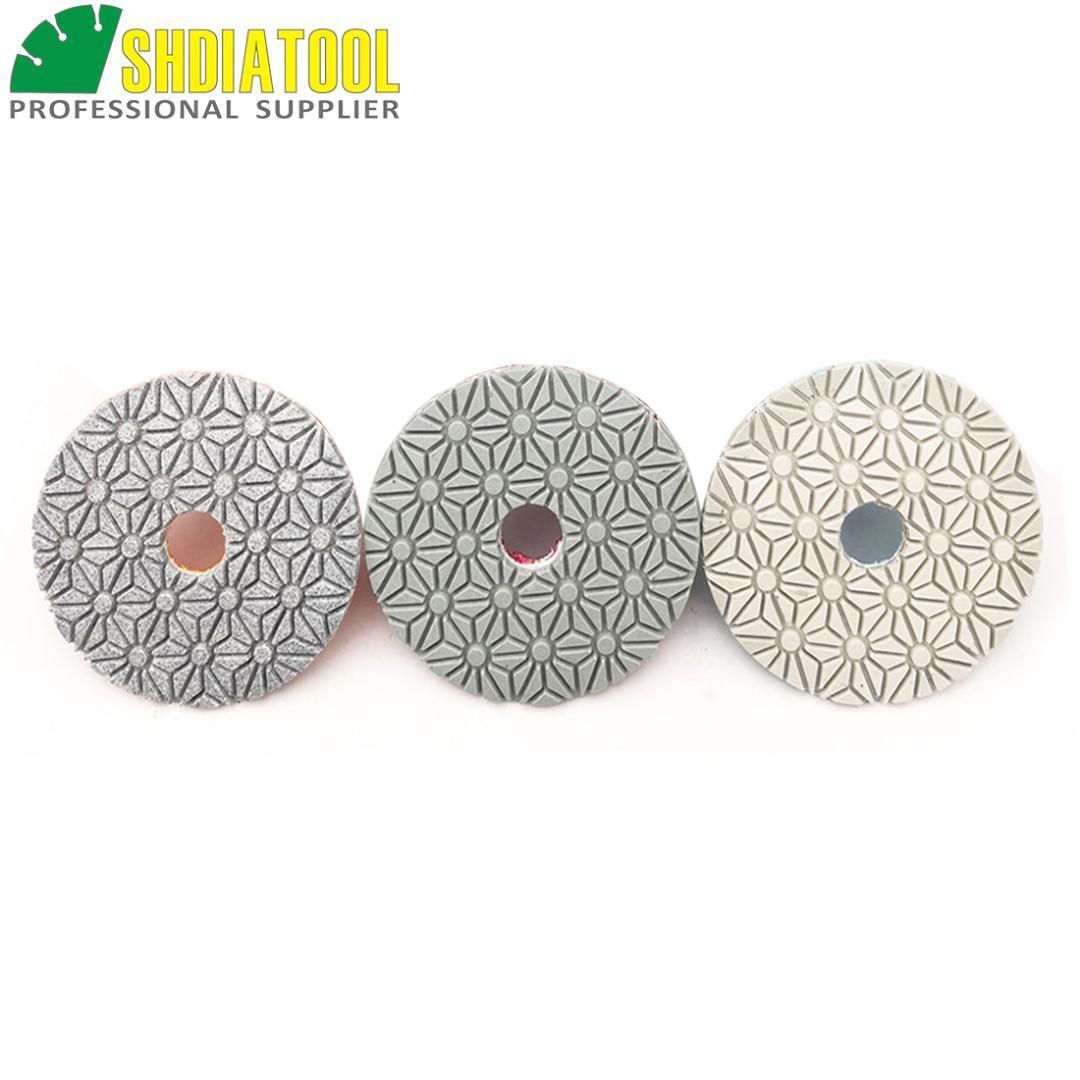 """Taş Mermer için SHDIATOOL Çapı 100 mm / 4"""" 3-Adım elmas reçine bağı parlatma Diskler Islak yüksek kaliteli esnek parlatılması Tamponlar"""