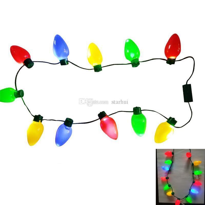 Natale Led lampeggiante lampadine collana per Decorazioni di Natale Partito Fascino favore accessori per regalo 100pcs DHL NAVE WX9-1118