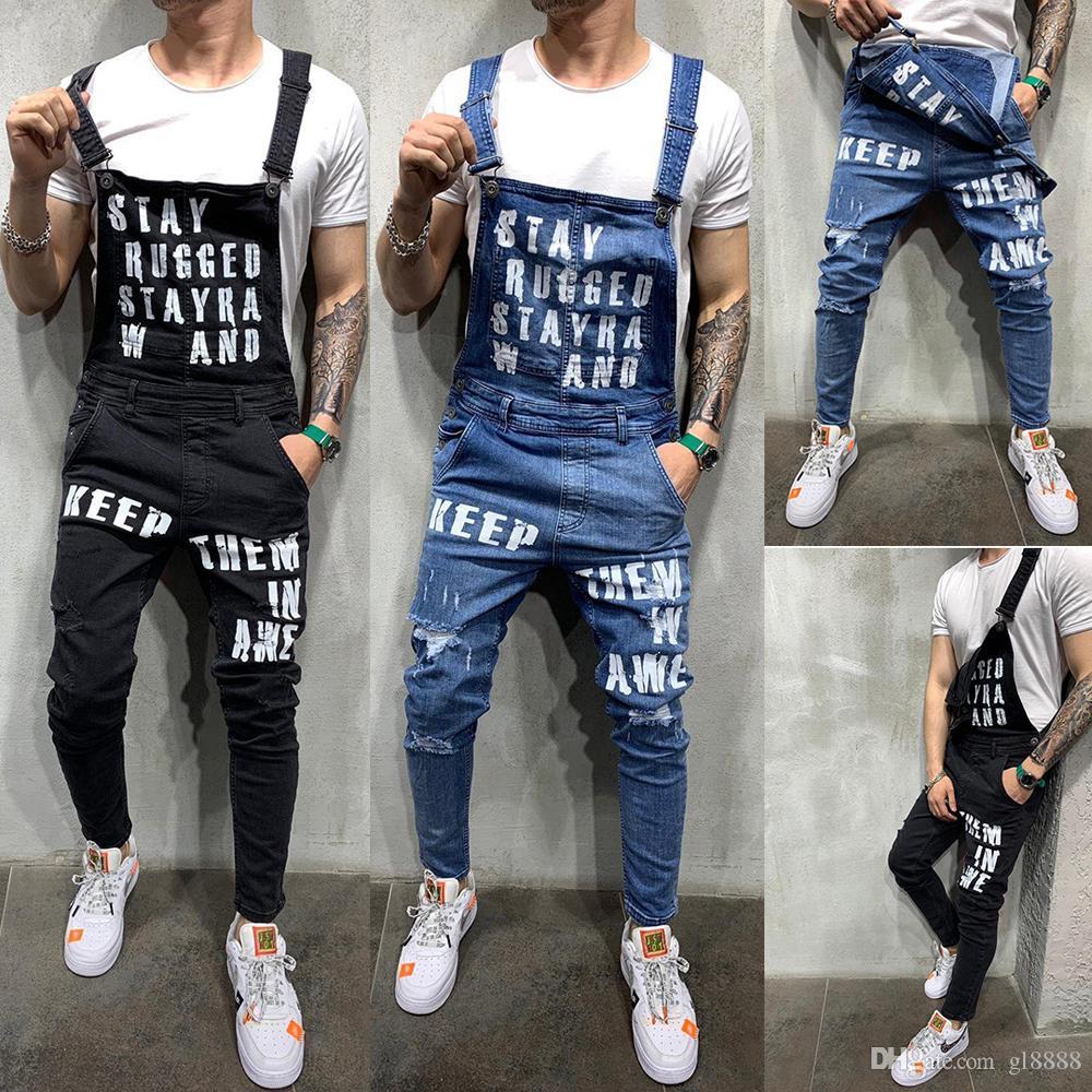 Denim uomo Salopette Tute pantaloni pantaloni da lavoro tuta Strappato Cargo Jeans