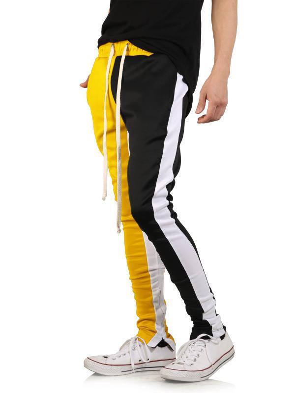 2020 cotone da uomo lungo Color Block Via Patchwork Cerniere elastico dell'anca casual matita della mutanda Pantaloni sportivi Pantaloni Jogger Pants
