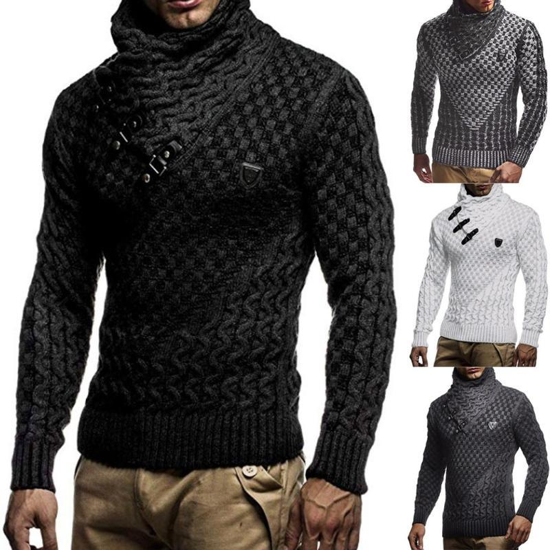 Mens Splicing Long Slim High Collar Pullover Sweater Knitted Jumper Tops Sweater Autumn Winter Fashion Size Leisure Work Cl