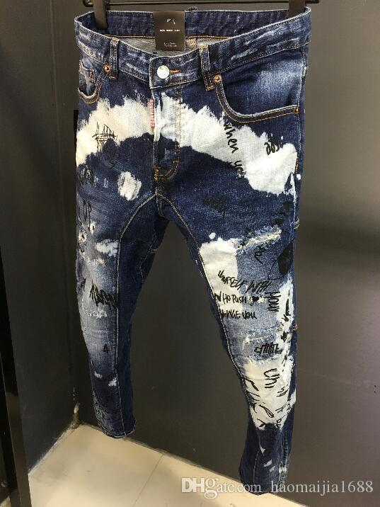 New Distressed Ripped Skinny Jeans Fashion Designer Slim Motorcycle Biker Causal Mens Denim Pants Hip Hop Holes Jeans Trousers Size 28-38