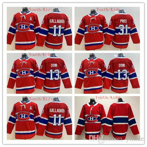 2020 jeunes Canadiens de Montréal Hockey Maillots enfants 31 Carey Price 11 Brendan Gallagher 13 Max Domi Boys Home Red Ice Hockey Jersey XMAS cadeau