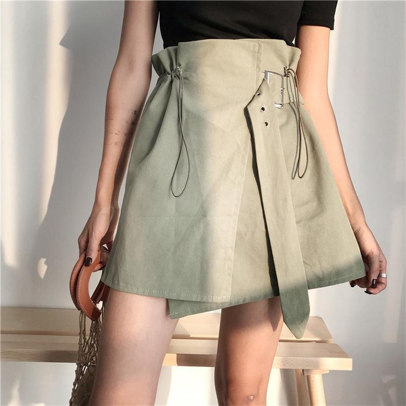 Vintage Damen Rock Rüschen Taille Schärpen Side Split weibliche Röcke Khaki Armee grün Faldas Mujer Moda 2019 Sommer Jupe Femme SH190722