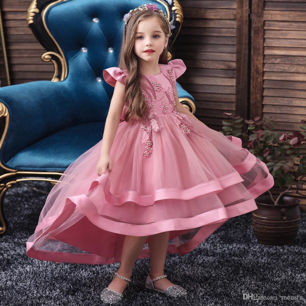Детские девушки платье принцессы Детские Skitr Tail платье девушки пузырь юбка марли кружева вокруг шеи фортепианного исполнительства девушка платье E200205