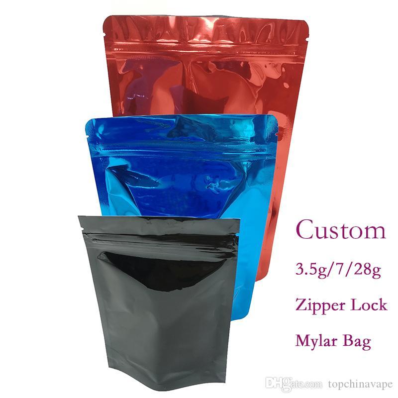 Изготовленный на заказ упаковывая замок Застежка-молнии мешков Mylar Childproof стоит вверх мешок косметической алюминиевой фольги упаковывая мешок доказательства размера OEM 3.5 граммов 1/2LB 1lb влажный