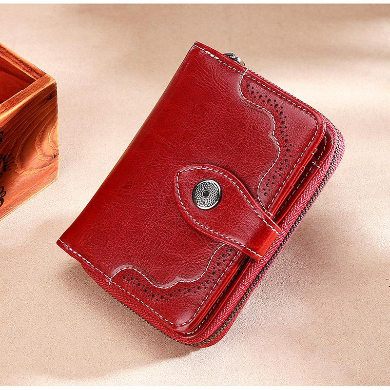 New Rfid Genuine Leather Women Wallet Female Portomonee Zipper Coin Purse Card Holder Short Money Bag Quality Small Wallets 2019