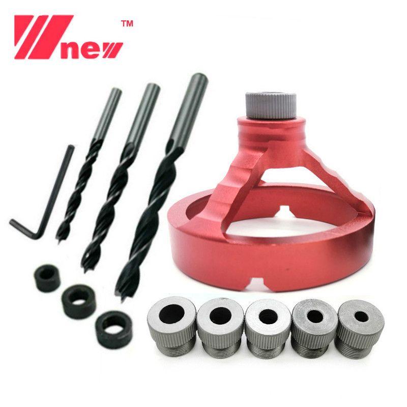 In lega di alluminio da 90 gradi Drill Guida Drill Bit Punzonatrice Locator Jig Boccola Strumenti di falegnameria 5/6/7/8/9 / 10mm
