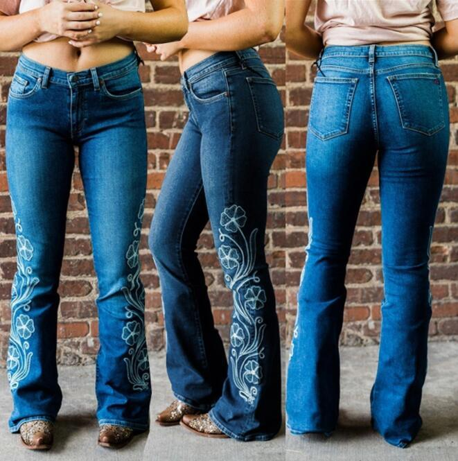 Embroidery Boot Cut Mom Jeans For Lady Floral Wide Leg Denim Trousers Woman Long Skinny Flared Jean Pants Vintage Plus Size 3XL
