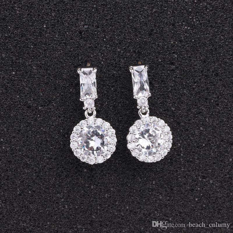Klasik Yuvarlak Kübik Zirkon Küpe Kadınlar Için Gelin Gümüş Renk Kıvılcım Kristalleri Moda Bırak Küpe Düğün Küpe Jewlery