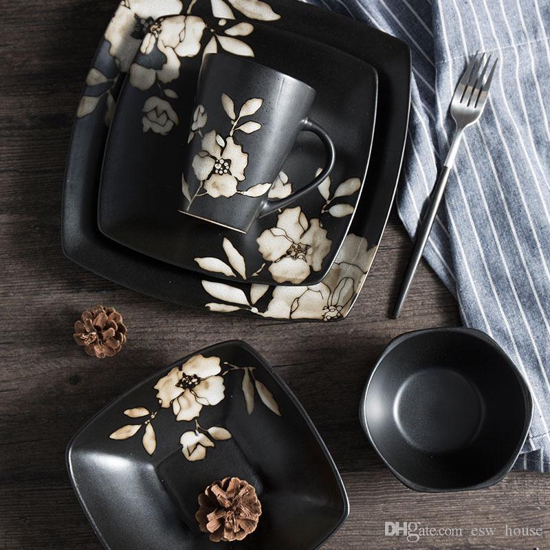 pintado a mano de estilo japonés Negro placa de cerámica de la flor del hibisco vajilla Impreso tazón de fuente cuadrado restaurante japonés Plato de placas Copa Display