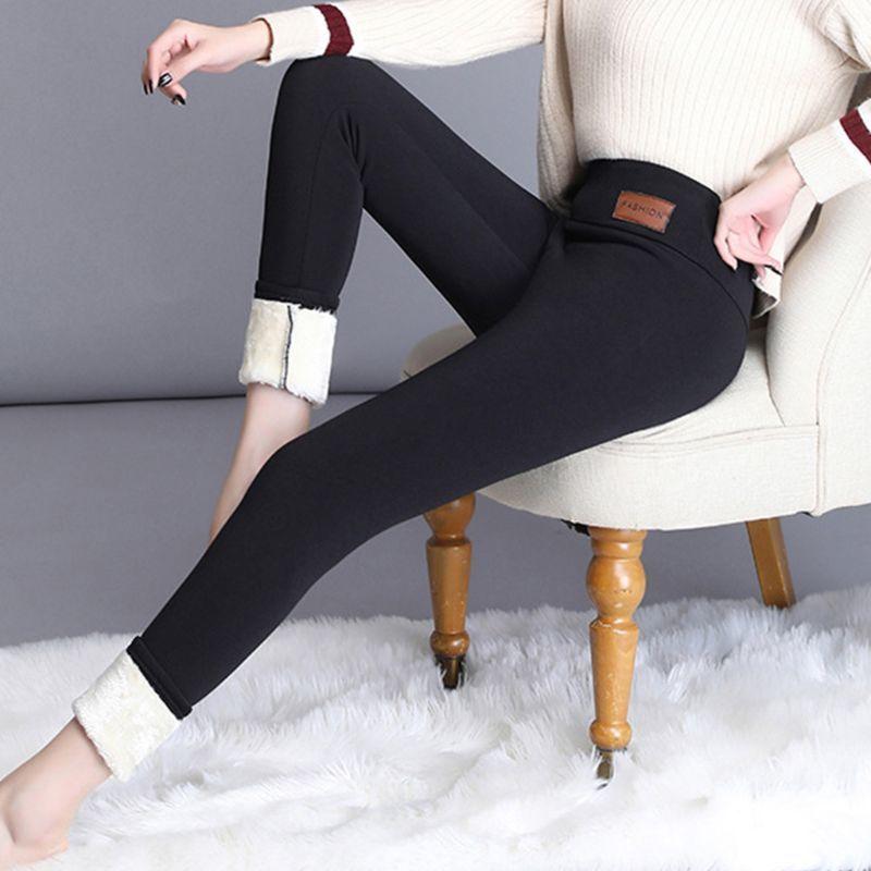 Neue Frauen Winter Warme Hose Dicke Faux Fleece gesäumte Plüsch Leggings Wärmehosen Y200328