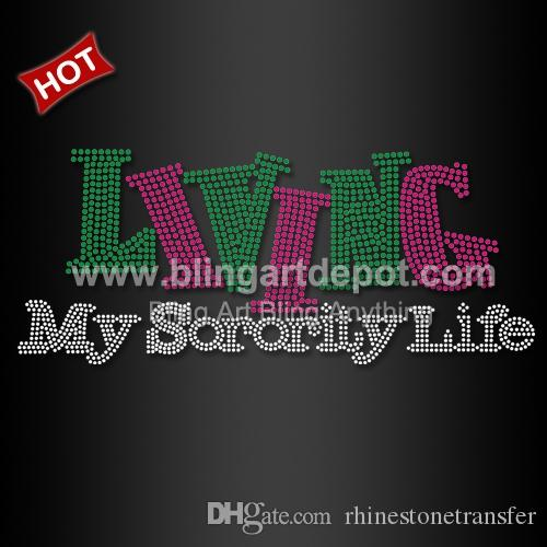 Living My Sorority Life Rhinestone Transfers AKA 20pcs / lot Envío gratis