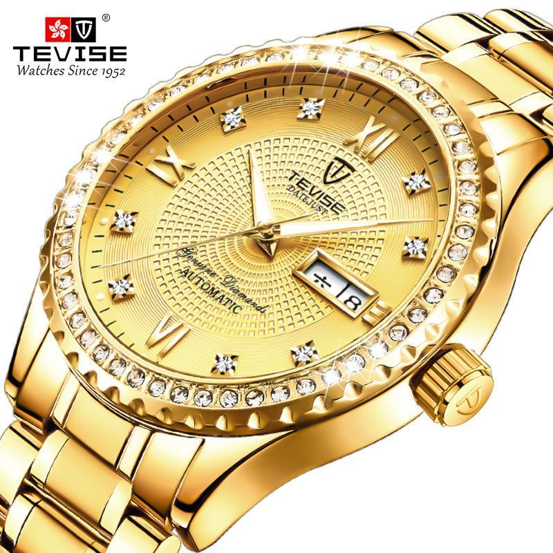 TEVISE Lüks Altın Erkekler Kuvars İzle Paslanmaz çelik tarih su geçirmez kol saati erkek moda iş saati
