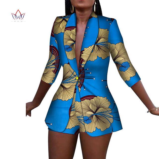 Yeni Kadın Takım elbise ve Kısa Pantolon Bazin Riche Afrika Giyim% 100 Pamuk Print 2 adet Kadınlar Afrika Giyim WY3492 Setleri