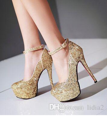 Новое прибытие горячие продажа спец супер мода приток благородный Sweety шпильках платформы пользовательские золото невесты блестки свадебные туфли на каблуках EU34-43
