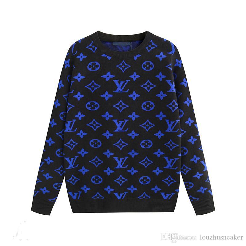 pulôver quente jacquard de malha rótulo padrão geométrico 19New alta qualidade em torno do pescoço pulôver camisola código masculino do M-3XL
