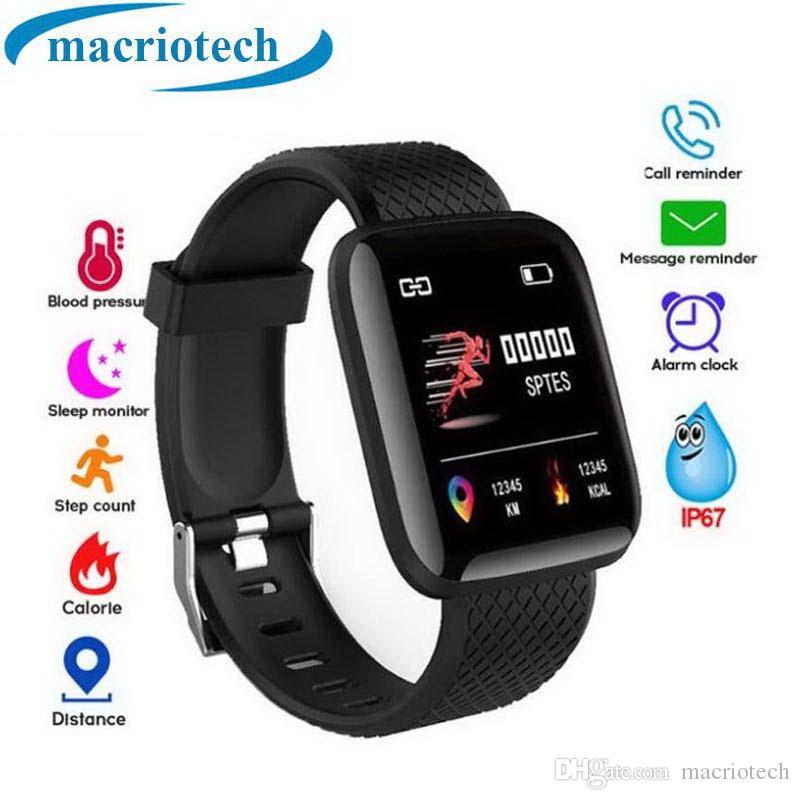 116 Plus Smart Bracelet de moniteur de fréquence cardiaque Pression artérielle IP67 Étanche Hommes Femmes Fitness Tracker Smart Band Montre