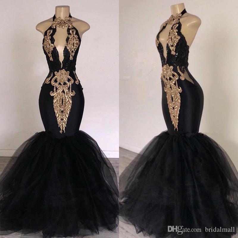 Sleutelgat nek 2020 zwarte zeemeermin prom jurken met gouden geappliceerd formele avondjurken sexy halter nek sweep trein speciale gelegenheid jurk