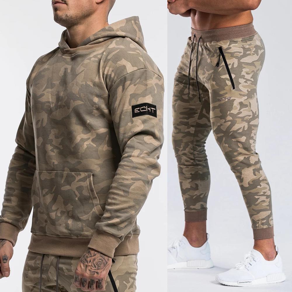 Marca Tuta Camo cappuccio ansima gli insiemi Uomo Casual Jacket Felpa jogging pantaloni della tuta maschile di cotone Autunno Inverno sportivo Suit