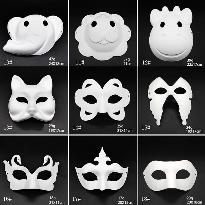 Makeup Dance Weiße Masken Embryo-Schimmel Malerei Handgemachte Maske Pulpe Tier Halloween Festival Party Masken Weiß Papier Gesichtsmaske DBC BH2912