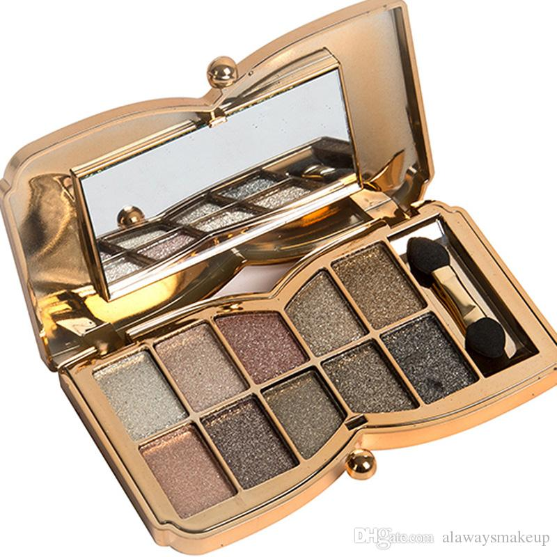 10 colores Sombra de ojos Diamante colorido Metalizado brillante paleta de sombras Paleta de oro Venta caliente Maquillaje de ojos Envío gratis