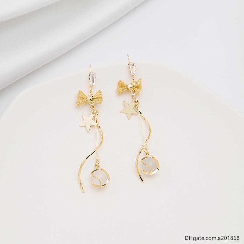 agulha de prata coreano pequenos brincos de olho fresco longo temperamento gato doce arco com forma de S brincos de diamante brincos de borla