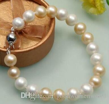 """Veloce Spedizione gratuita New Real Fine Pearl Jewelry NATURALE 10-11 MM SUD MARE ROSA BIANCO PERLA BRACCIALETTO 7.5 """"-8"""" 14 k"""