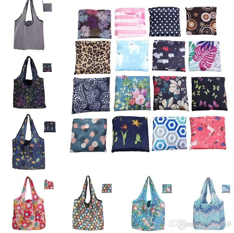 New dobrar sacola de compras sacolas reutilizáveis armazenamento saco amigável de Eco Bolsas Bolsas ombro impressa Grande 7066