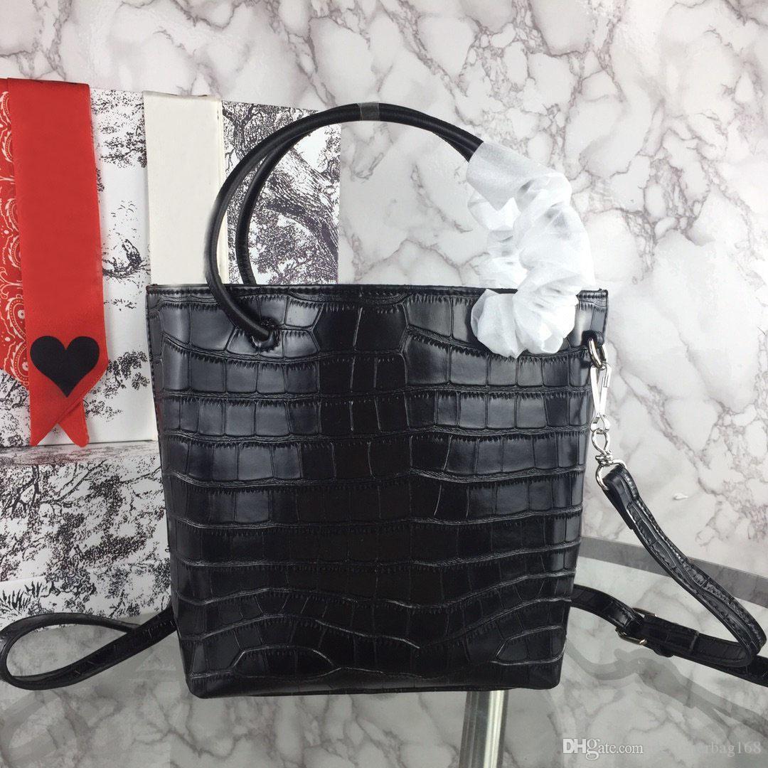 Designer-nuovo modo di lusso del progettista della borsa della donna Croce Borse spalla del cuoio genuino di qualità di tote di alta borsa di coccodrillo di stampa secchio Portable