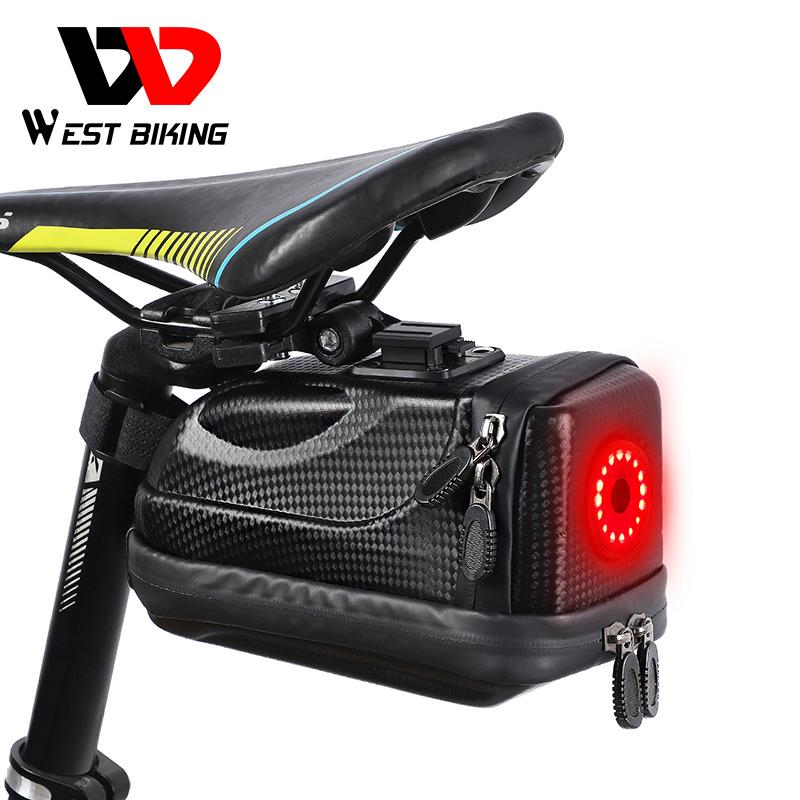 WEST BIKING Waterproof Bike Saddle Bag With USB Rechargeable Tail Light MTB Road Bicycle Pannier Basket Cycling Accessories