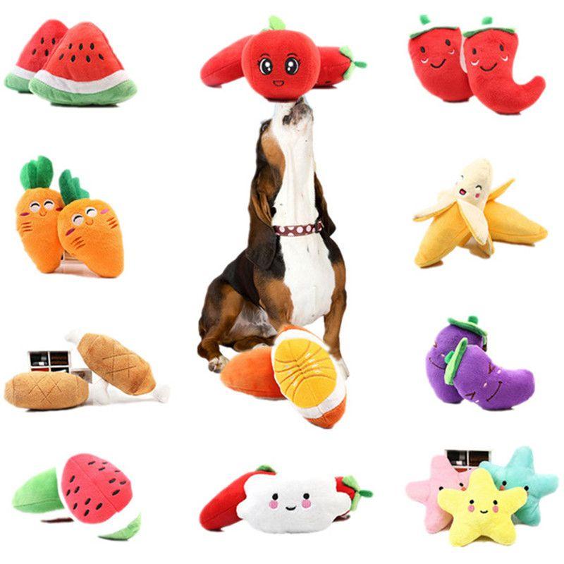 Pet Spielzeug für Katze, Hund, Regenbogen-Knochen-Frucht-Gemüse-Huhn Drum Squeak Toy Hundewelpen Plüsch Roter Pfeffer Aubergine Rettich Ente Pet Chew jugetes