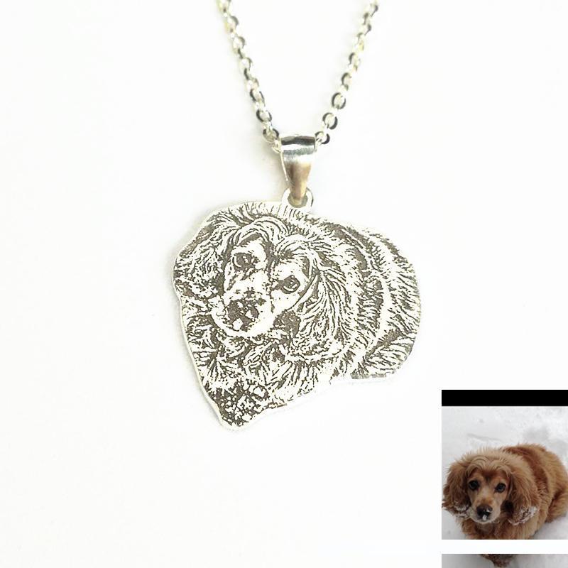Pet Dog personalizado Retrato Foto Colar Handmade Cães Imagem Charme Pet personalizado Memorial Jewelry LossPet presente Pendant