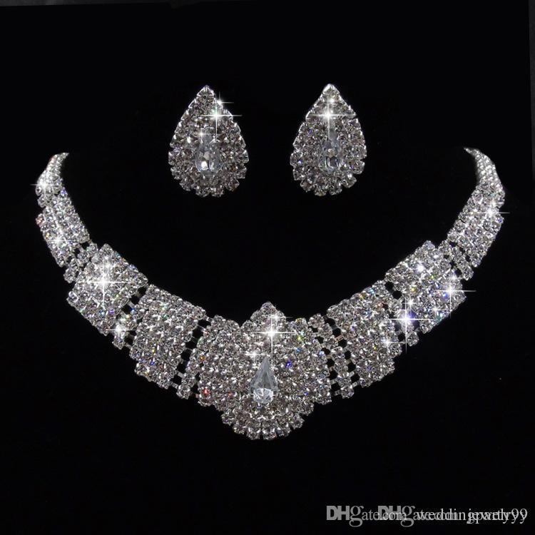 Luxury Crystal Bridal Wedding Jewelry Set Shinning Crystal Rhinestone Stud Earrings Necklace Set for Girls Women Party Jewelry Gifts