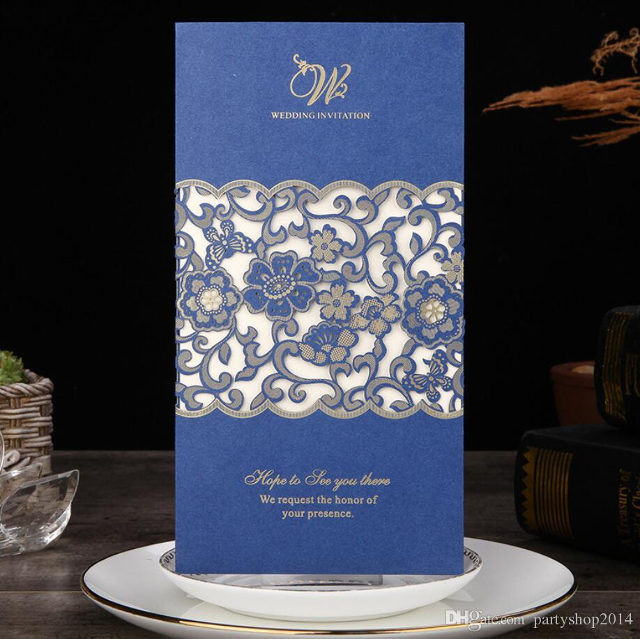 New Wedding Invitation Card Square Cutout Hot Stamping Wedding Invitation Wedding Invitations European Blue Letter Laser Cutting Invitations