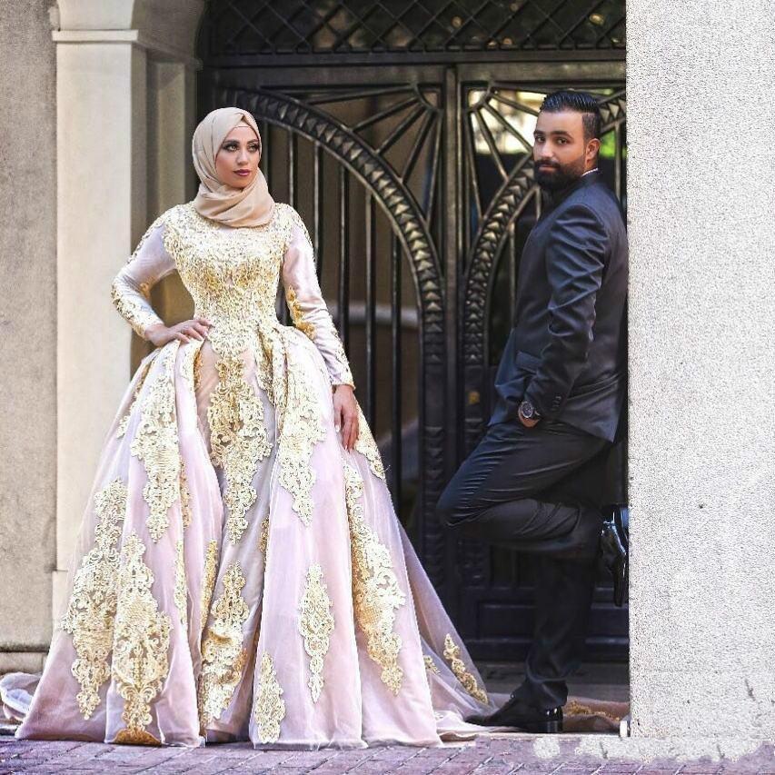 Beads Applique Glamorous arabo Plus Size Abiti da sposa Mermaid detto mhamad Medio Oriente Mulsim pizzo Abito da sposa treno abito da sposa Chiesa