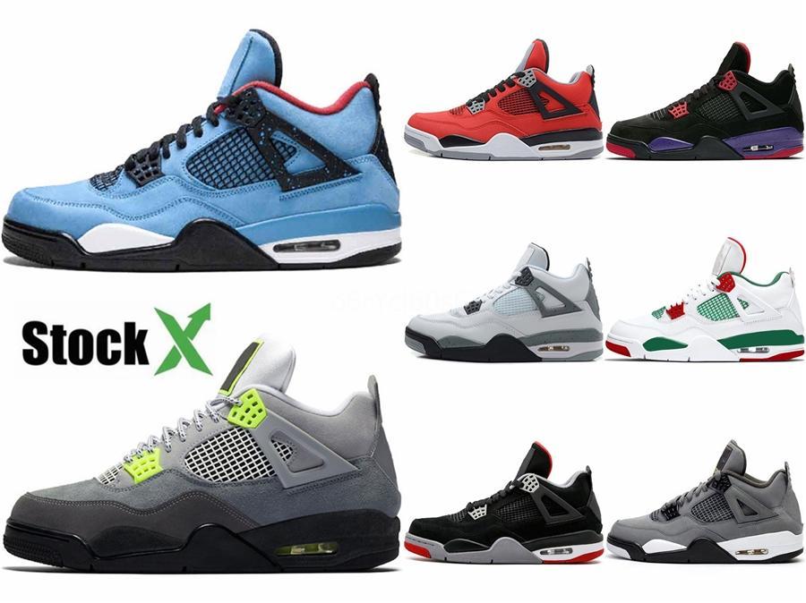 2020 Yeni Travis Scott X 4 4S Cactus Jack Iv Mor Mavi Basketbol Spor Spor ayakkabılar Otantik Basketbol Ayakkabı # 445 Ayakkabı