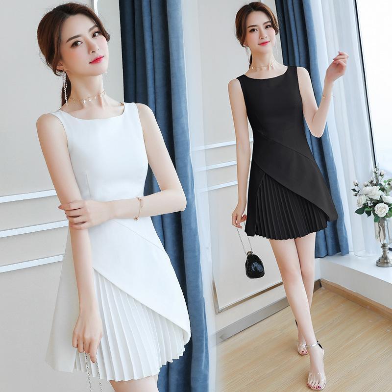 jupe première fée d'amour 2019 été nouveau style très fées robe de niche française Slim plissé robe blanche