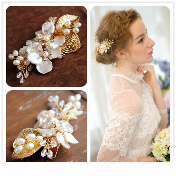 Beijia El yapımı Shell Çiçek Saç Klip Düğün Aksesuarları Altın başlıkiçi Tatlı Su İnci Gelin Saç Takı Kadınlar Şapkalar