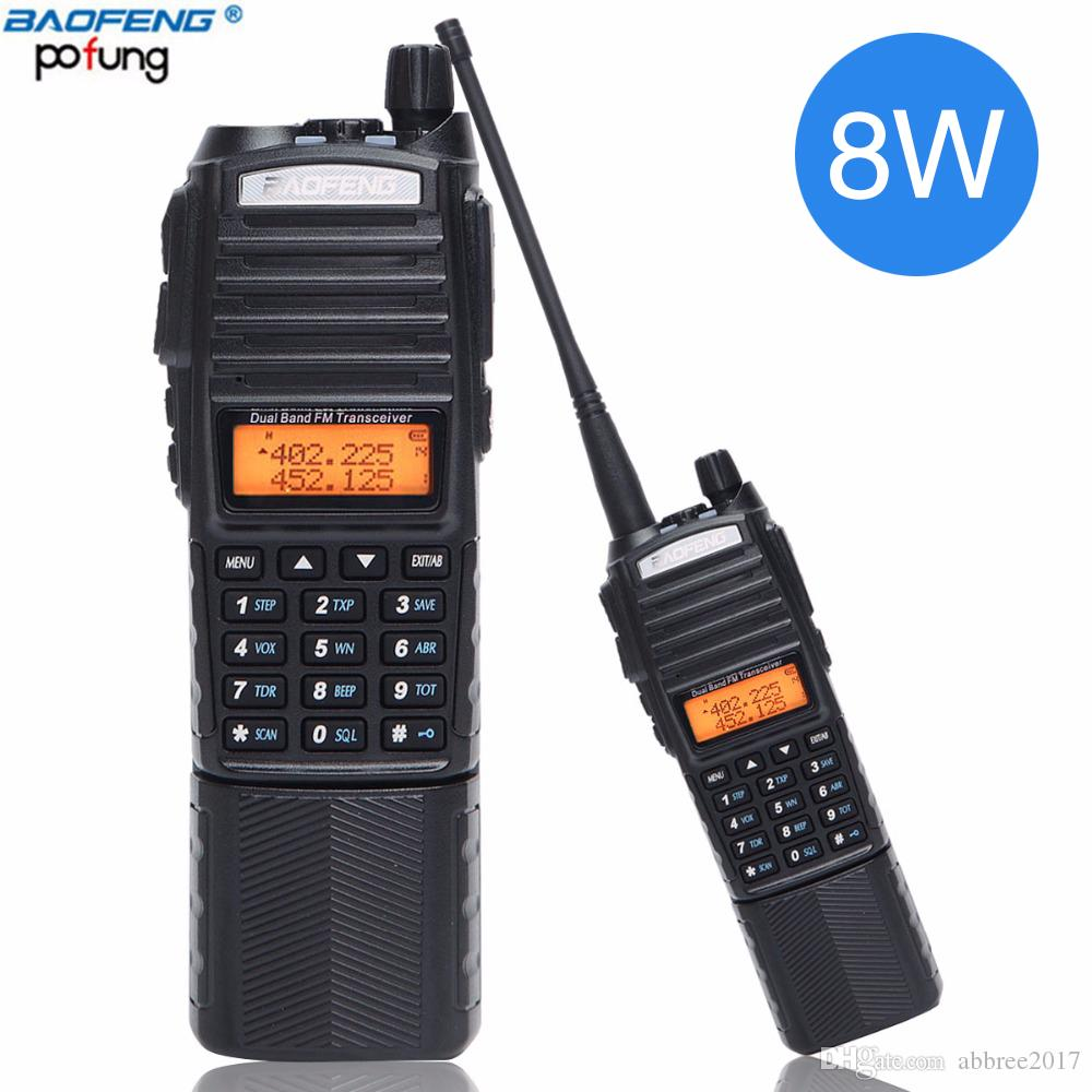 2Pcs Baofeng UV-82 Plus 8W High Power DC Connector 3800mAh Walkie Talkie Dual Band 136-174&400-520mhz 10km Long Range Ham Radio