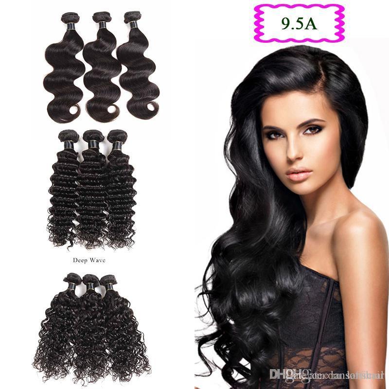 9.5A corps Extensions cheveux indiens Vague 3 Bundles Lot cheveux humains Tissages profonde Vague humaine Cheveux Trames 3 Pièces Uniques Lot