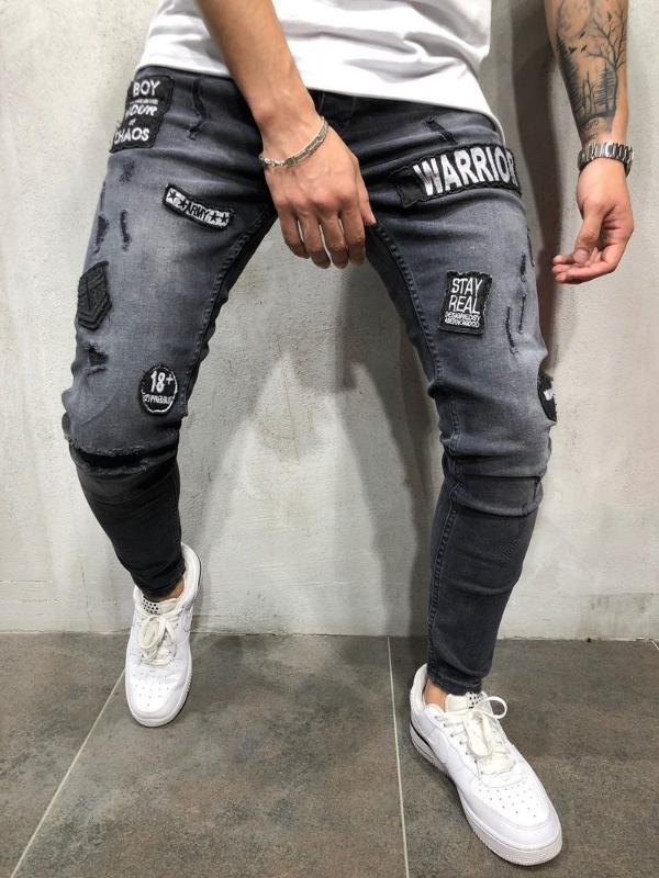 Designer Jeans Hommes haute qualité Pantalons Hip-hop broderie échalas gris Jeans homme Pantalons Stretch Man tactique Marque 2018