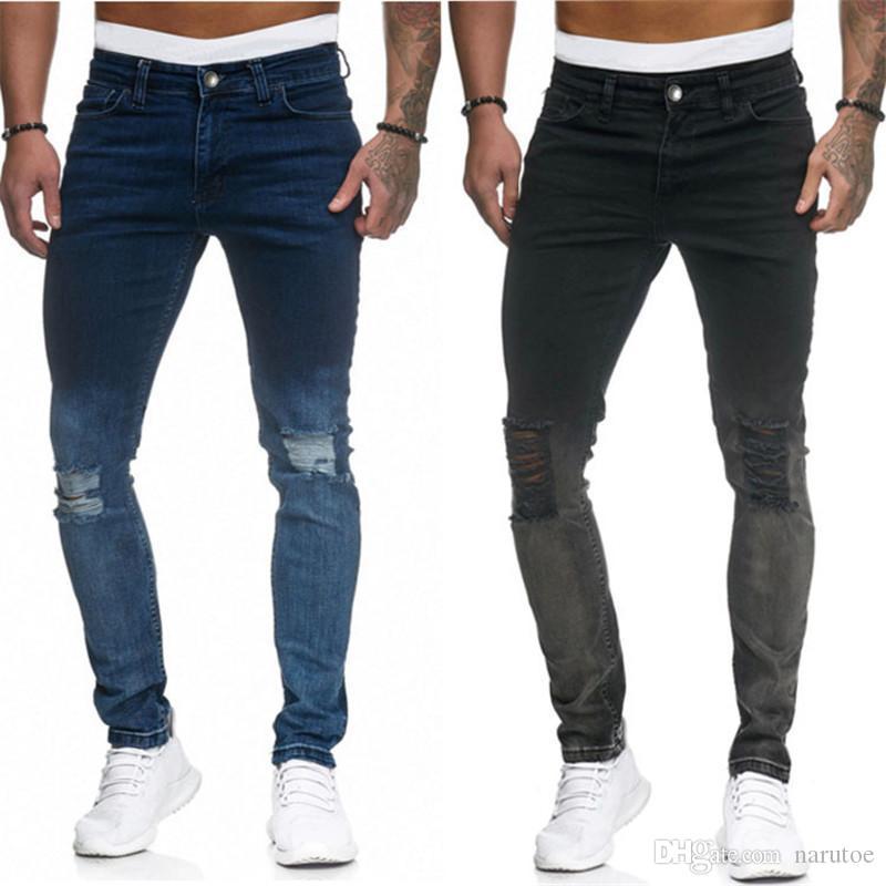 La moda del diseñador del Mens Jeans nueva llegada del color del gradiente lavado y pantalones Distrressed lápiz de los pantalones largos delgadas para hombre