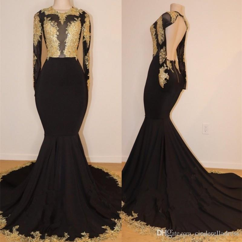 2019 Hot African Black and Gold Mermaid Prom Dresses High Neck Gold Lace Appliques See Through Open Back Long Sleeves Evening Gowns