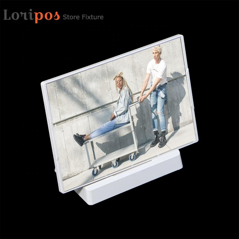 Plastic A4 Photo Frame Wedding Picture Holder Frame Stand Desk Sign Label Holder White Wall Mounted Advertising Poster Frame