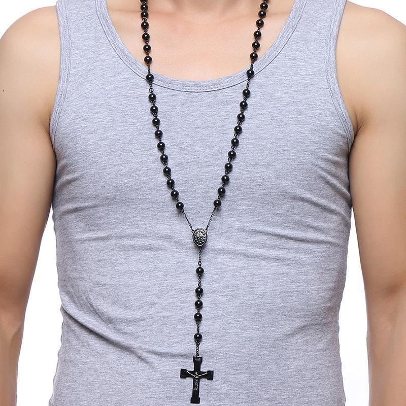 Bead Cross Stainless Steel Pendant