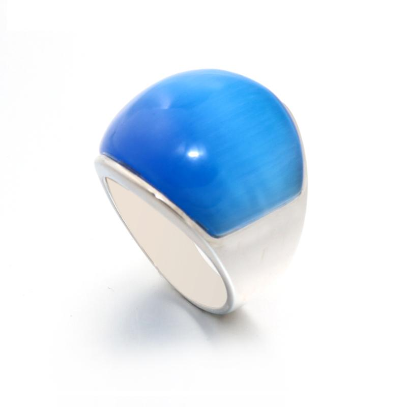 New Men Women Fashion rings Punk 361L Stainless Steel Vintage Rings With Sky blue color Opal rings for party Factory Wholesale