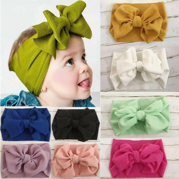 Miúdos Menina Estiramento Turbante Nó Headband Da Criança Do Bebê Menina Big Bow Nó HairBand Sólida Headwear Envoltório Cabeça Banda de Cabelo Acessórios
